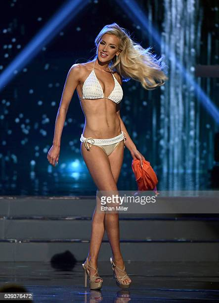 Miss Oklahoma USA 2016 Taylor Gorton competes in the swimsuit competition during the 2016 Miss USA pageant at TMobile Arena on June 5 2016 in Las...