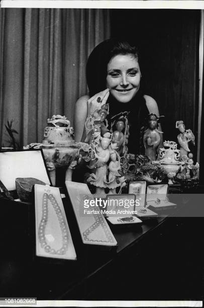 Miss Pamela Duff Duff 19 of Fairfield with the Priceless Jade objects from Hongkong were placed in the AWZ Hunter St Vault for David Jones World Fair...