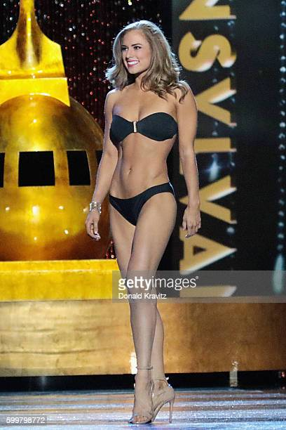 Miss Pennsylvania Samantha Lambert appears onstage during Miss America 2017 1st Night of Preliminary Competition at Boardwalk Hall Arena on September...