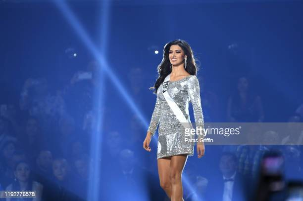 Miss Peru Kelin Rivera appears onstage at the 2019 Miss Universe Pageant at Tyler Perry Studios on December 08 2019 in Atlanta Georgia