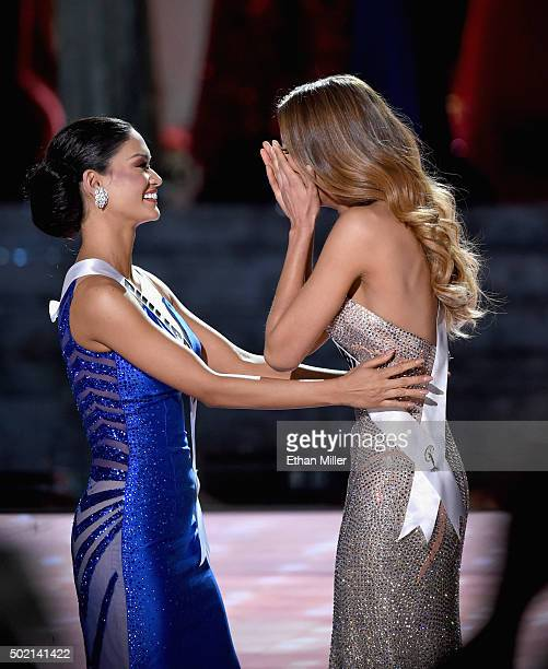 Miss Philippines 2015 Pia Alonzo Wurtzbach and Miss Colombia 2015 Ariadna Gutierrez Arevalo react as Gutierrez Arevalo is named the 2015 Miss...