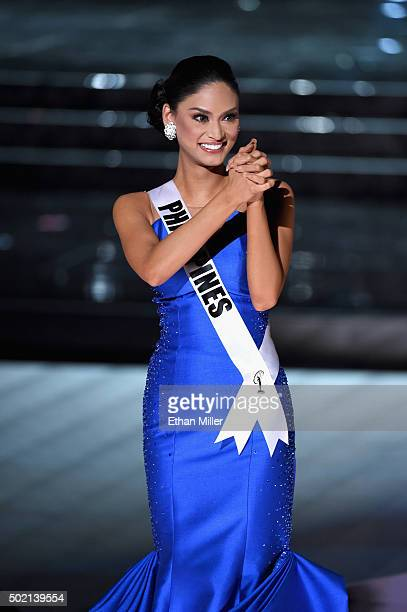 Miss Philippines 2015 Pia Alonzo Wurtzbach reacts after being named one of the top three finalist during the 2015 Miss Universe Pageant at The Axis...