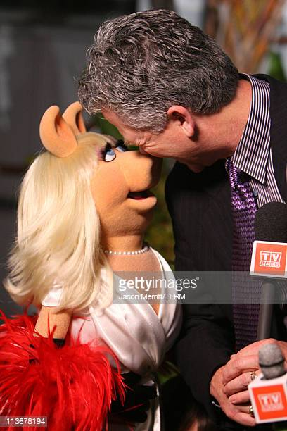 Miss Piggy and Patrick Duffy during 2006 TV Land Awards Backstage and Audience at Barker Hangar in Santa Monica California United States