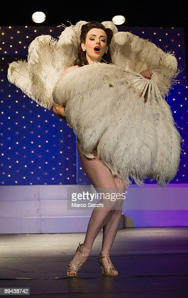 Miss Polly Rae the Queen of Leicester Square attends the photocall of The London Folies at Leicester Square Theatre on July 29 2009 in London England