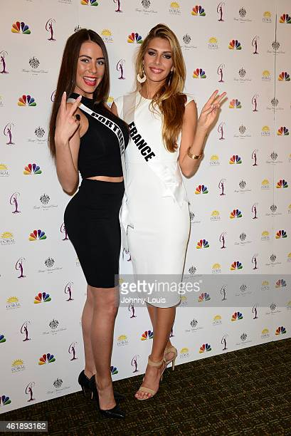 Miss Portugal Patricia Da Silva and Miss France Camille Cerf attend Miss Universe Press Junket at Crowne Plaza Hotel on January 20 2015 in Miami...