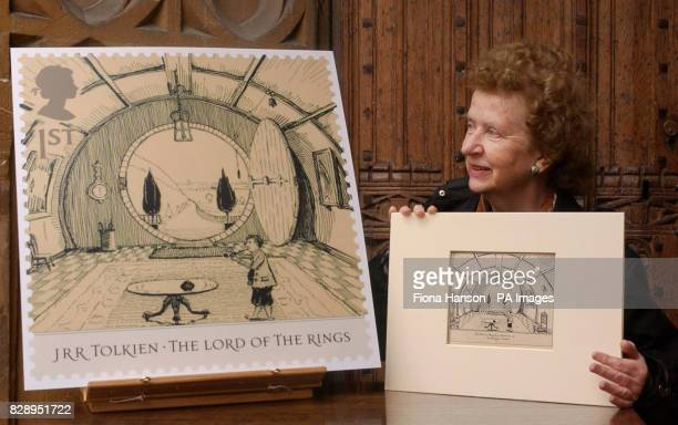 Miss Priscilla Tolkein youngest daughter of British novelist JRR Tolkein with the original pen and ink drawing of the 'Hall at BagEnd' and an...
