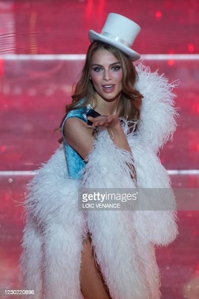 Miss Provence April Benayoum competes on stage during the Miss France 2021 beauty contest at the Puy-du-Fou, in Les Epesses, western France, on...