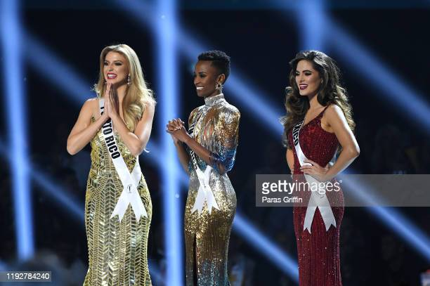 Miss Puerto Rico Madison Anderson Miss South Africa Zozibini Tunzi Miss Mexico Sofía Aragón appear onstage at the 2019 Miss Universe Pageant at Tyler...
