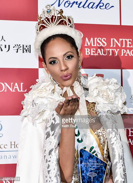 Miss Puerto Rico Valerie Hernandez Matias poses for photo after she was named the 2014 Miss International at The 54th Miss International Beauty...
