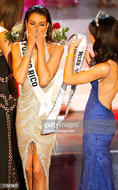 Miss Puerto Rico Zuleyka Rivera Mendoza is crowned Miss Universe by Miss Universe 2005 Natalie Glebova during the Miss Universe 2006 pageant at the...
