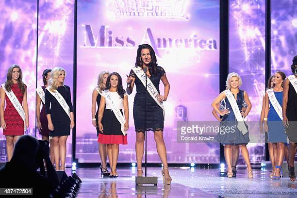 Miss Rhode Island Alexandra Curtis speaks at Wednesday Night Preliminaries 2016 Miss America Competition at Atlantic City Boardwalk Hall on September...