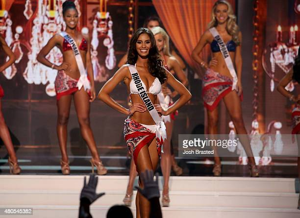 Miss Rhode Island Anea Garcia poses onstage at the 2015 Miss USA Pageant Only On ReelzChannel at The Baton Rouge River Center on July 12 2015 in...