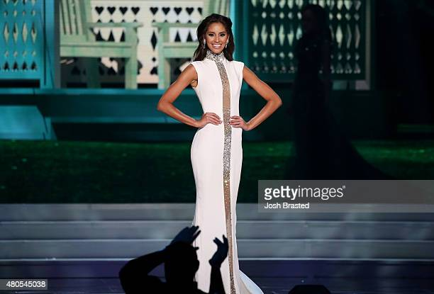 Miss Rhode Island Anea Garcia walks onstage at the 2015 Miss USA Pageant Only On ReelzChannel at The Baton Rouge River Center on July 12 2015 in...