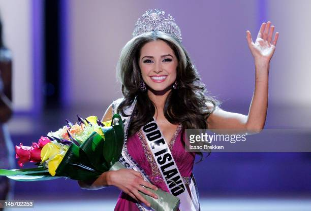 Miss Rhode Island USA Olivia Culpo waves to the crowd after winning the 2012 Miss USA pageant at the Planet Hollywood Resort Casino on June 3 2012 in...