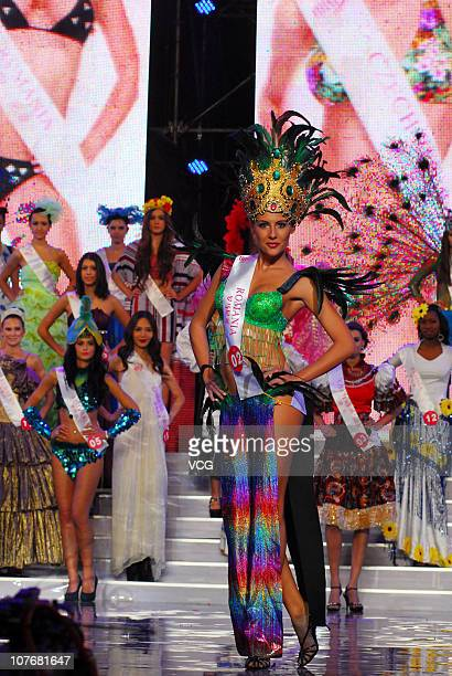 Miss Romania poses during the 37th Miss Tourism International Global Final at Zhanjiang Sports Center on December 17 2010 in Zhanjiang Guangdong...