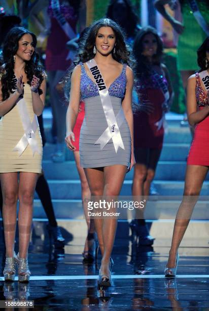 Miss Russia 2012 Elizabeth Golovanova is named a top 16 finalist during the 2012 Miss Universe Pageant at PH Live at Planet Hollywood Resort Casino...