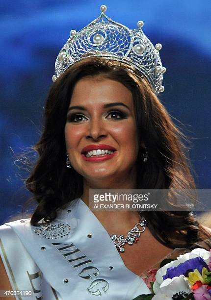 Miss Russia 2015 Sofia Nikitchuk from Yekaterinburg smiles after being crowned 'Miss Russia 2015' during the annual beauty contest in Moscow on April...