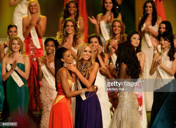Miss Russia Kseniya Sukhinova is congratulated by fellow competitors as it she announced winner of the 58th Miss World at Sandton Convention Centre...