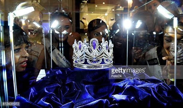 Miss SA finalists at the unveiling of the new Miss South Africa crown Enhle on February 24 2016 in Johannesburg South Africa The crown made from...