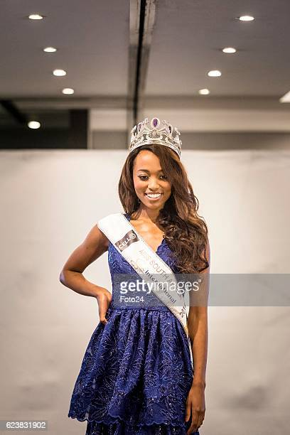 Miss SA Ntandoyenkosi Kunene showcases one of her costumes that she will wear at the Miss World beauty pageant during her farewell at the Maslow...