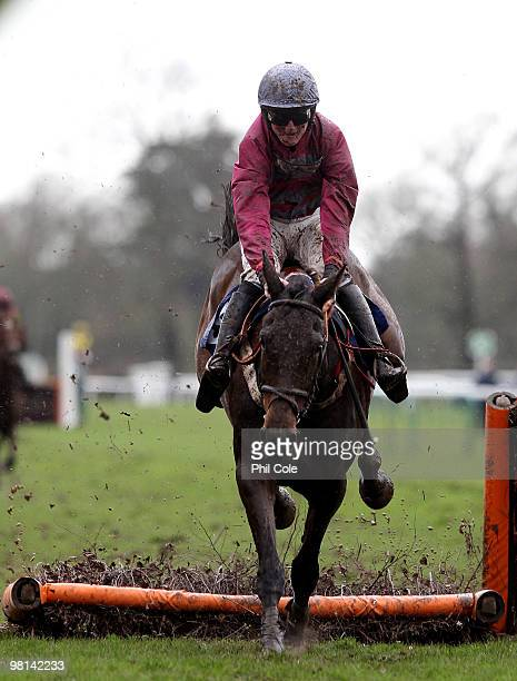 Miss Saffron ridden by Jack Doyle knocks down a fence during the Premier Art Keith Burden 01273491220 Novices Hurdicap race on March 30 2010 in...