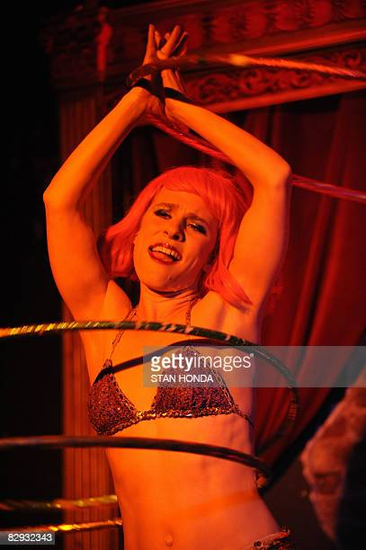 SMITH Miss Saturn goes through her routine with hula hoops at the Sixth Annual New York Burlesque Festival on September 18 2008 at the Corio Supper...