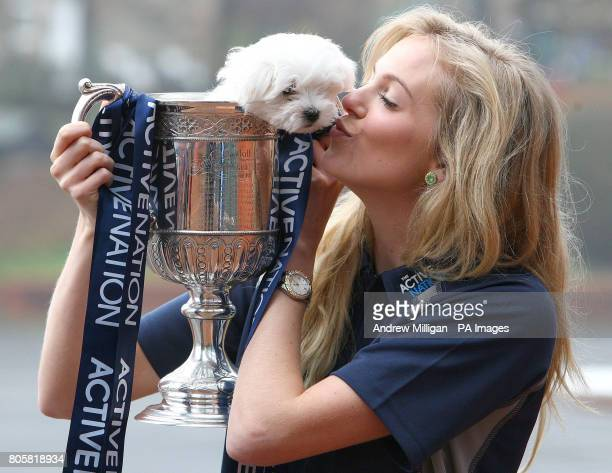 Miss Scotland and current Miss UK Katharine Brown with her eight week old Maltese Terrier puppy Jack helps launch a competition to win the Active...