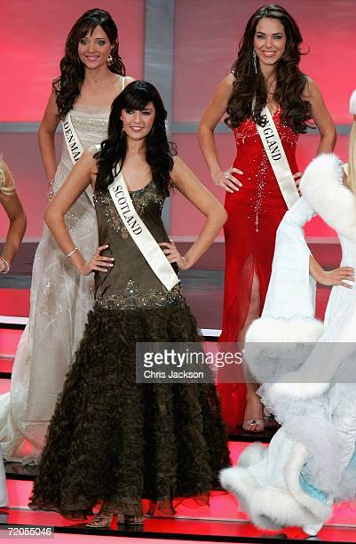 Miss Scotland Nicola McLean and Miss England Eleanor Mary Anne Glynn are seen with other contestants during Miss World 2006 at Warsaw's Palace of...