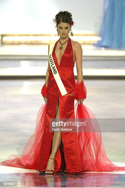Miss Scotland Paula Murphy stands as she is introduced to the audience st the Miss World 2002 competition December 7 2002 in London England The Miss...