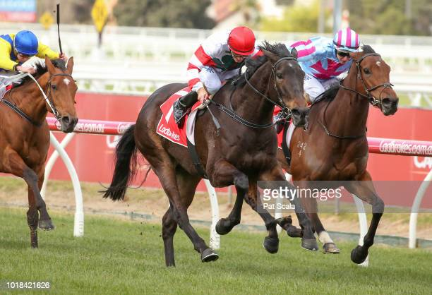 Showtime ridden by Dwayne Dunn wins the Sir John Monash PB Lawrence Stakes at Caulfield Racecourse on August 18 2018 in Caulfield Australia