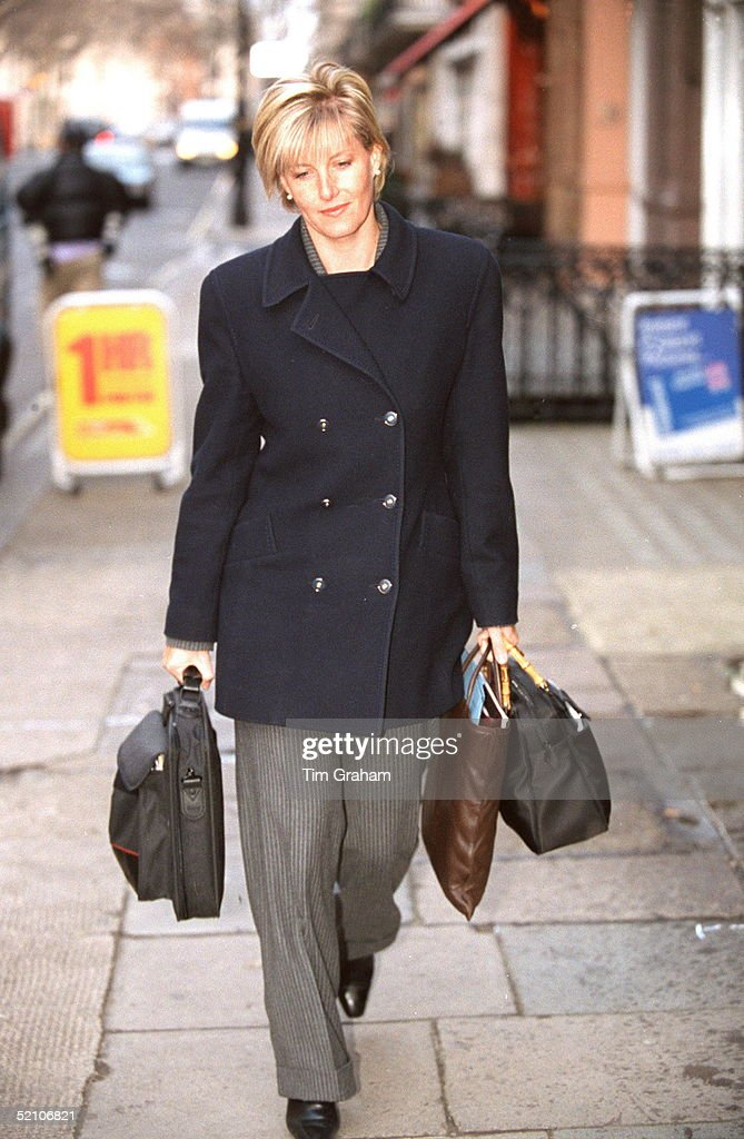Miss Sophie Rhys-jones On Her Way To Work At Her Public Relations Firm In London's Mayfair In The Week Following Her Engagement To Prince Edward.