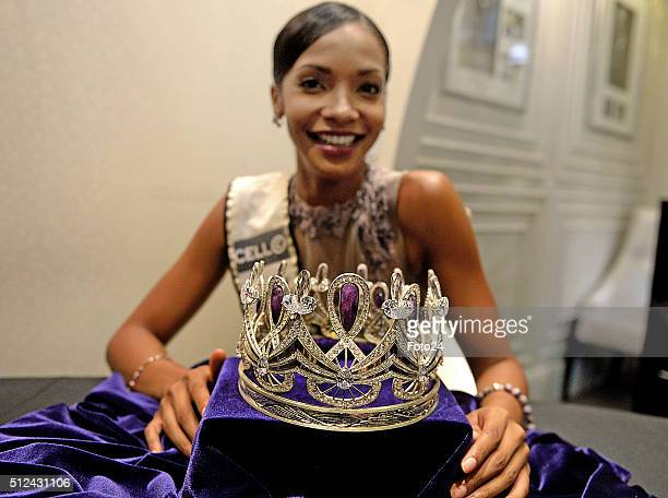 Miss South Africa 2015 Liesl Laurie at the unveiling of the new Miss South Africa crown Enhle on February 24 2016 in Johannesburg South Africa The...