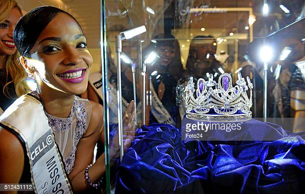 Miss South Africa 2015 Liesl Laurie with Miss SA finalists at the unveiling of the new Miss South Africa crown Enhle on February 24 2016 in...