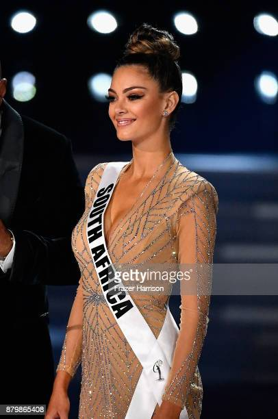 Miss South Africa 2017 DemiLeigh NelPeters answers a question during the interview portion of the 2017 Miss Universe Pageant at The Axis at Planet...