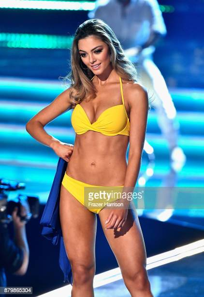 Miss South Africa 2017 DemiLeigh NelPeters competes in the swimsuit competition during the 2017 Miss Universe Pageant at The Axis at Planet Hollywood...