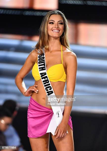 Miss South Africa 2017 DemiLeigh NelPeters is named a top 10 finalist during the 2017 Miss Universe Pageant at The Axis at Planet Hollywood Resort...