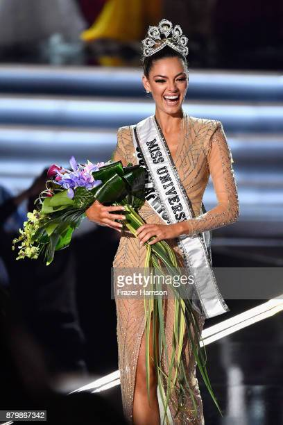 Miss South Africa 2017 DemiLeigh NelPeters reacts after she is named the 2017 Miss Universe during the 2017 Miss Universe Pageant at The Axis at...