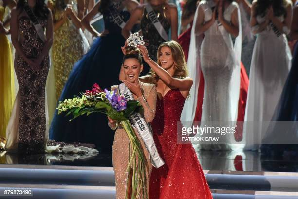 TOPSHOT Miss South Africa 2017 DemiLeigh NelPeters reacts as she is crowned new Miss Universe 2017 by Miss Universe 2016 Iris Mittenaere November 26...