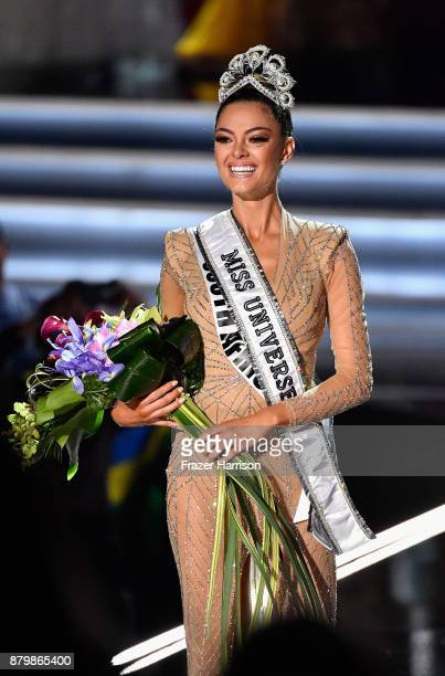 Miss South Africa 2017 DemiLeigh NelPeters reacts as she is named the 2017 Miss Universe during the 2017 Miss Universe Pageant at The Axis at Planet...