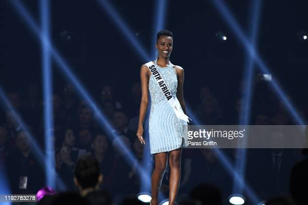 Miss South Africa Zozibini Tunzi appears onstage at the 2019 Miss Universe Pageant at Tyler Perry Studios on December 08 2019 in Atlanta Georgia