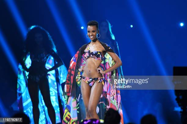 Miss South Africa Zozibini Tunzi competes in the swimsuit competition during the 2019 Miss Universe Pageant at Tyler Perry Studios on December 08...
