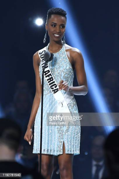 Miss South Africa Zozibini Tunzi speaks onstage at the 2019 Miss Universe Pageant at Tyler Perry Studios on December 08 2019 in Atlanta Georgia