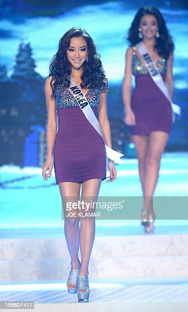 Miss South Korea Sunghye Lee walks on stage during the 2012 Miss Universe Pageant at Planet Hollywood in Las Vegas Nevada on December 19 2012...