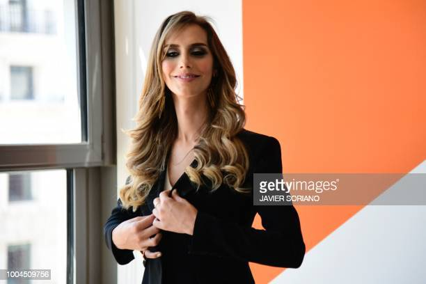 Miss Spain 2018 Angela Ponce arrives for a meeting with the leader of centreright party 'Ciudadanos' in Madrid on July 24 2018
