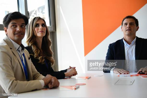 Miss Spain 2018 Angela Ponce meets with leader of centreright party 'Ciudadanos' Albert Rivera in Madrid on July 24 2018