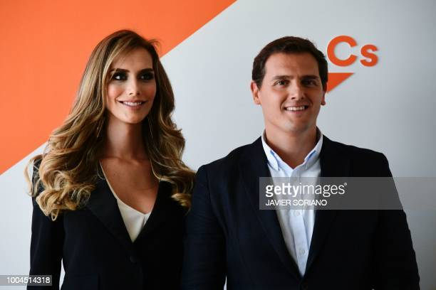 Miss Spain 2018 Angela Ponce poses with leader of centreright party 'Ciudadanos' Albert Rivera during a meeting in Madrid on July 24 2018