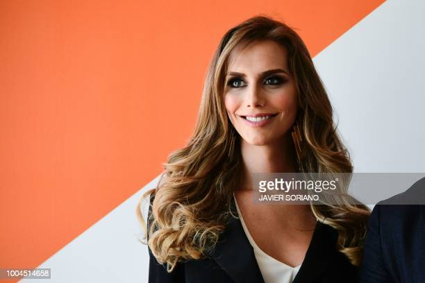 Miss Spain 2018 Angela Ponce smiles during a meeting with the leader of the centreright party 'Ciudadanos' in Madrid on July 24 2018