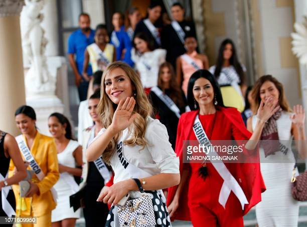 Miss Spain Angela Ponce the first transgender woman to take part in the Miss Universe contest and other Miss Universe 2018 contestants visit the...