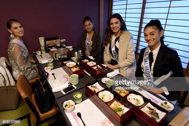 Miss Spain Elizabeth Victoria Ledesma Laker Miss Nicaragua Helen Martinez Treminio Miss Brazil Bruna Zanardo and Miss El Salvador Fatima Mangandi...