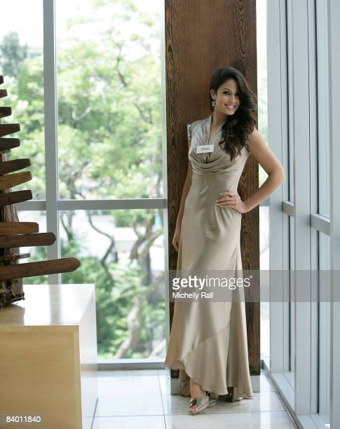 Miss Spain Patricia Yurena Rodrigues Alonjo poses on the day before the 58th Miss World Final at Sandton Convention Centre on December 12, 2008 in...